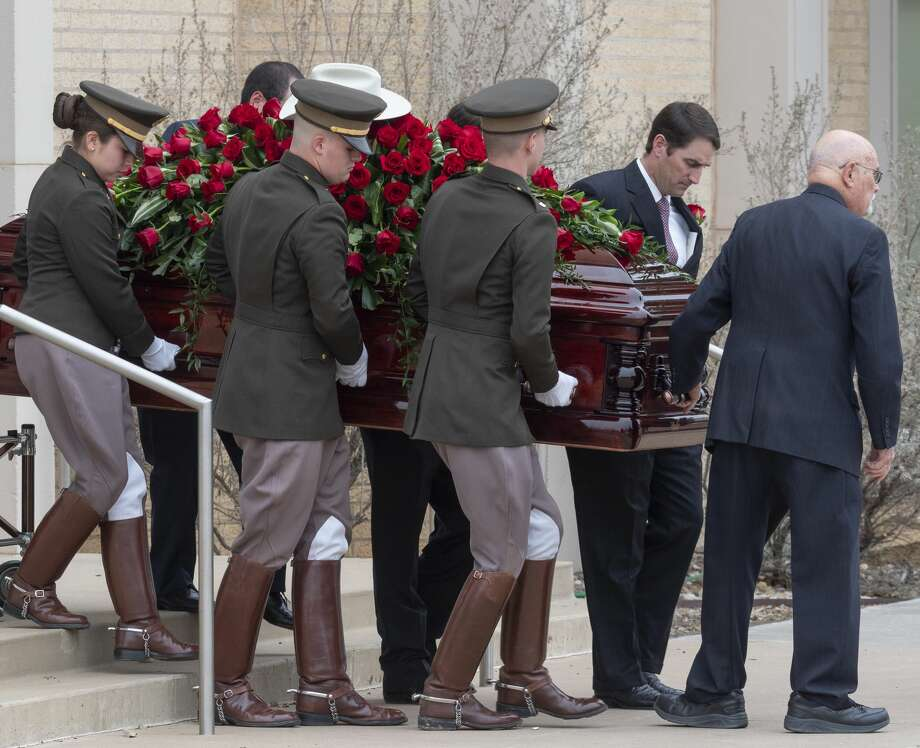 Clayton Williams is laid to rest 02/19/2020 as Texas A&M Corps of Cadets help bring the casket out of First Presbyterian Church. Tim Fischer/Reporter-Telegram Photo: Tim Fischer/Midland Reporter-Telegram