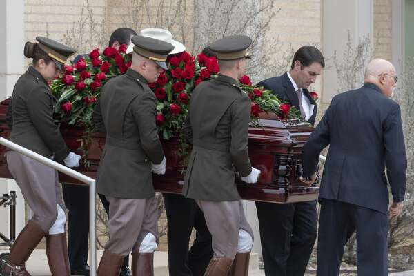 Clayton Williams is laid to rest 02/19/2020 as Texas A&M Corps of Cadets help bring the casket out of First Presbyterian Church. Tim Fischer/Reporter-Telegram
