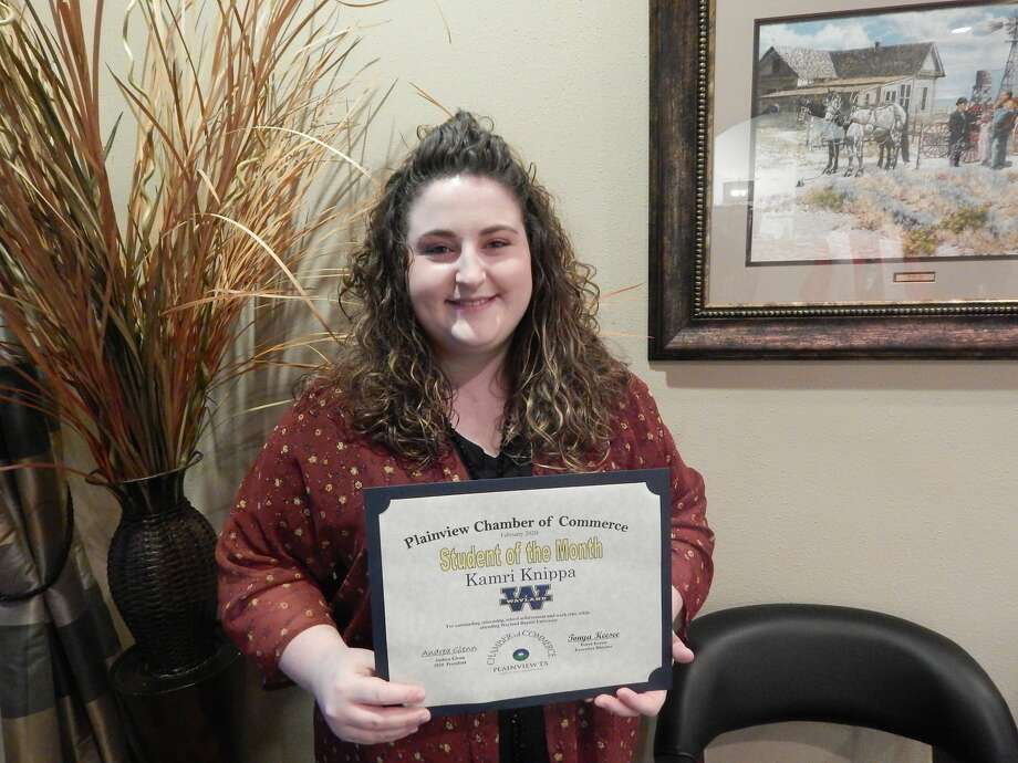 Kamri Knippa, a WBU senior, was recognized as the February Student of the Month during Tuesday's Chamber meeting. Photo: Courtesy Photos/Plainview Chamber Of Commerce