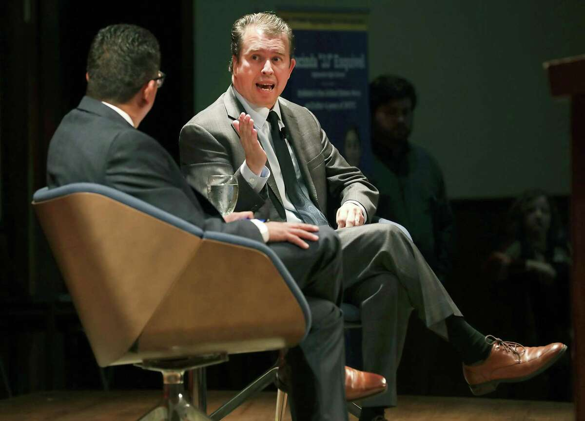 Pedro Martinez, right, SAISD superintendent, answers questions from Richard Perez, president and CEO of the San Antonio Chamber of Commerce, after Martinez gave his annual State of the District speech in February.