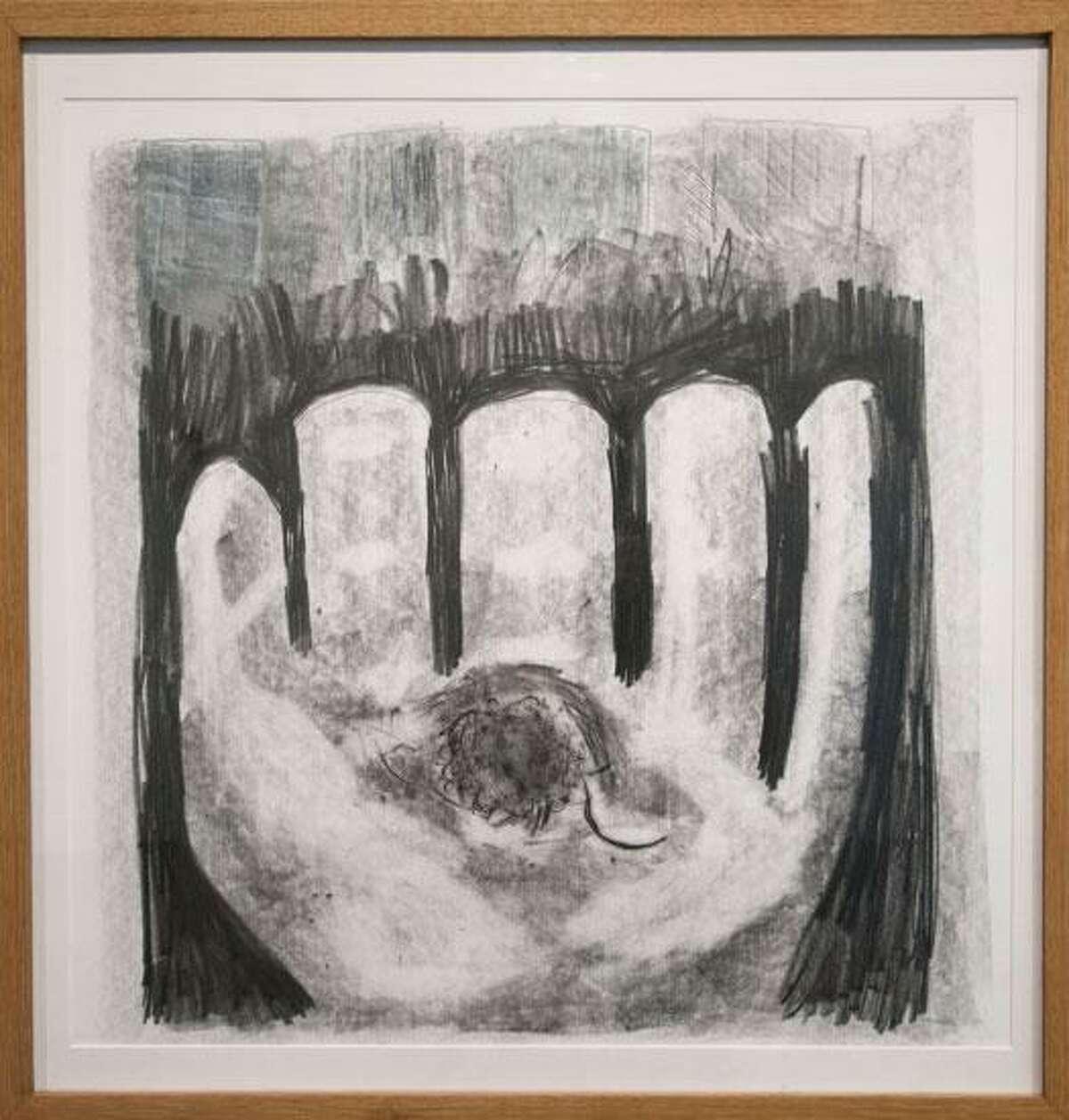 """Former Artist-in-Residence Hannah Sklar's drawing """"Baseball in Hand."""""""