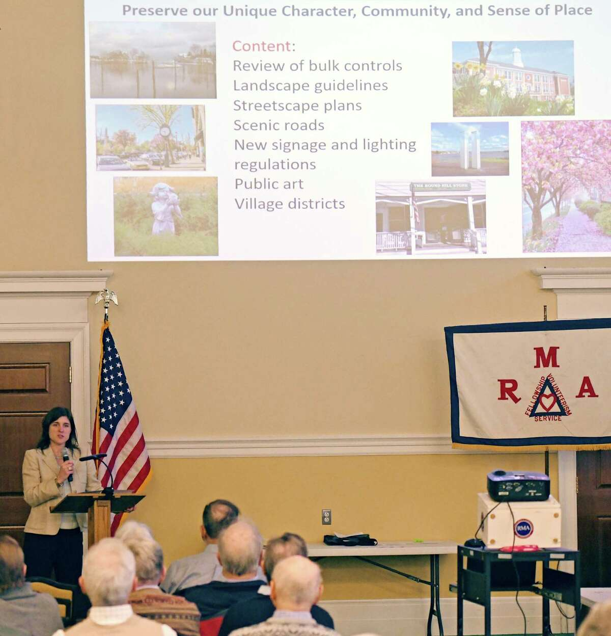 Greenwich Planning & Zoning Director Katie DeLuca speaks during the Retired Men's Association's weekly speaker series at First Presbyterian Church in Greenwich, Conn. Wednesday, Feb. 18, 2020. DeLuca spoke about implementing the town's Plan of Conservation and Development, which was approved last month.