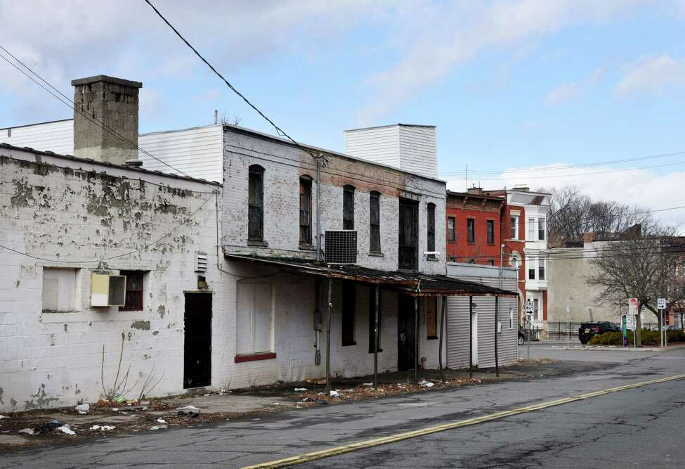 Rear of the former Vanilla Bean bakery building on Wednesday, Feb. 19, 2020, on Hill Street in Troy, N.Y. Rocco DeFazio has sought to convert the building into a center for Italian eating. (Will Waldron/Times Union)