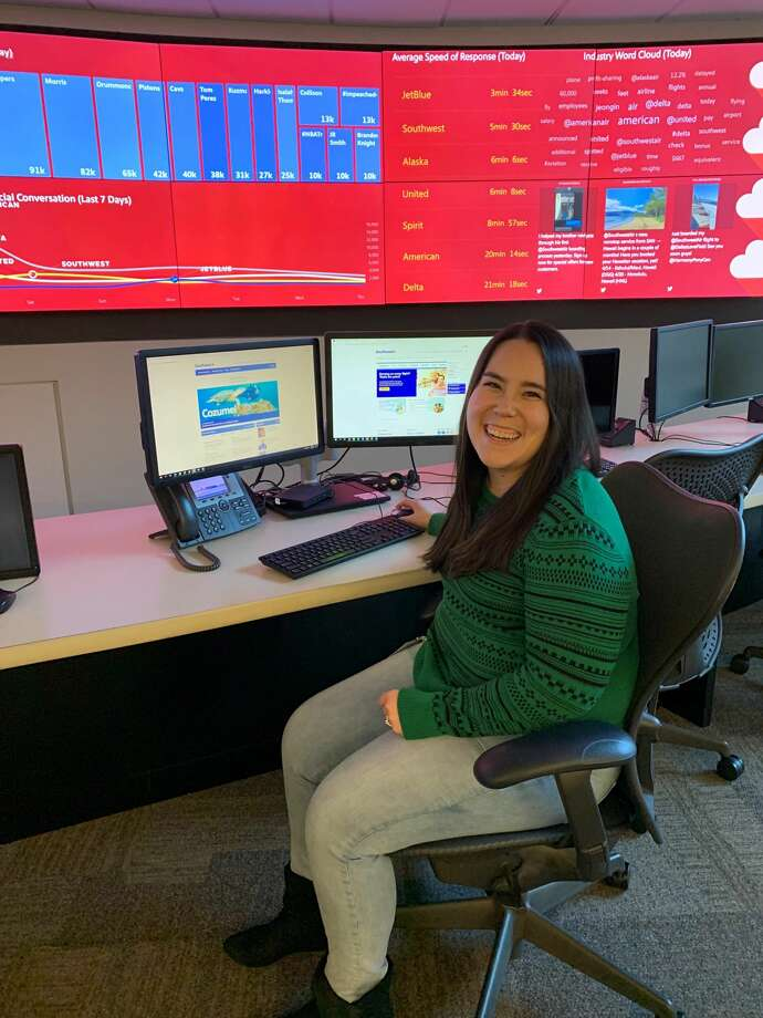 """It was nerve-racking sending that first tweet back where anyone can see my response,"" said Jennifer Lynch of her first day on the job responding to passengers on Southwest Airlines' social media team. ""You get used to it pretty quickly."" Photo: Courtesy Of Southwest Airlines"