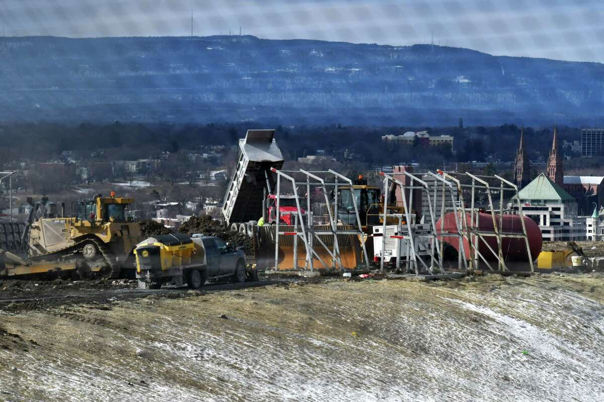 Waste is dumped at the Dunn Landfill on Wednesday, Feb.19, 2020, in Rensselaer, N.Y. (Will Waldron/Times Union)