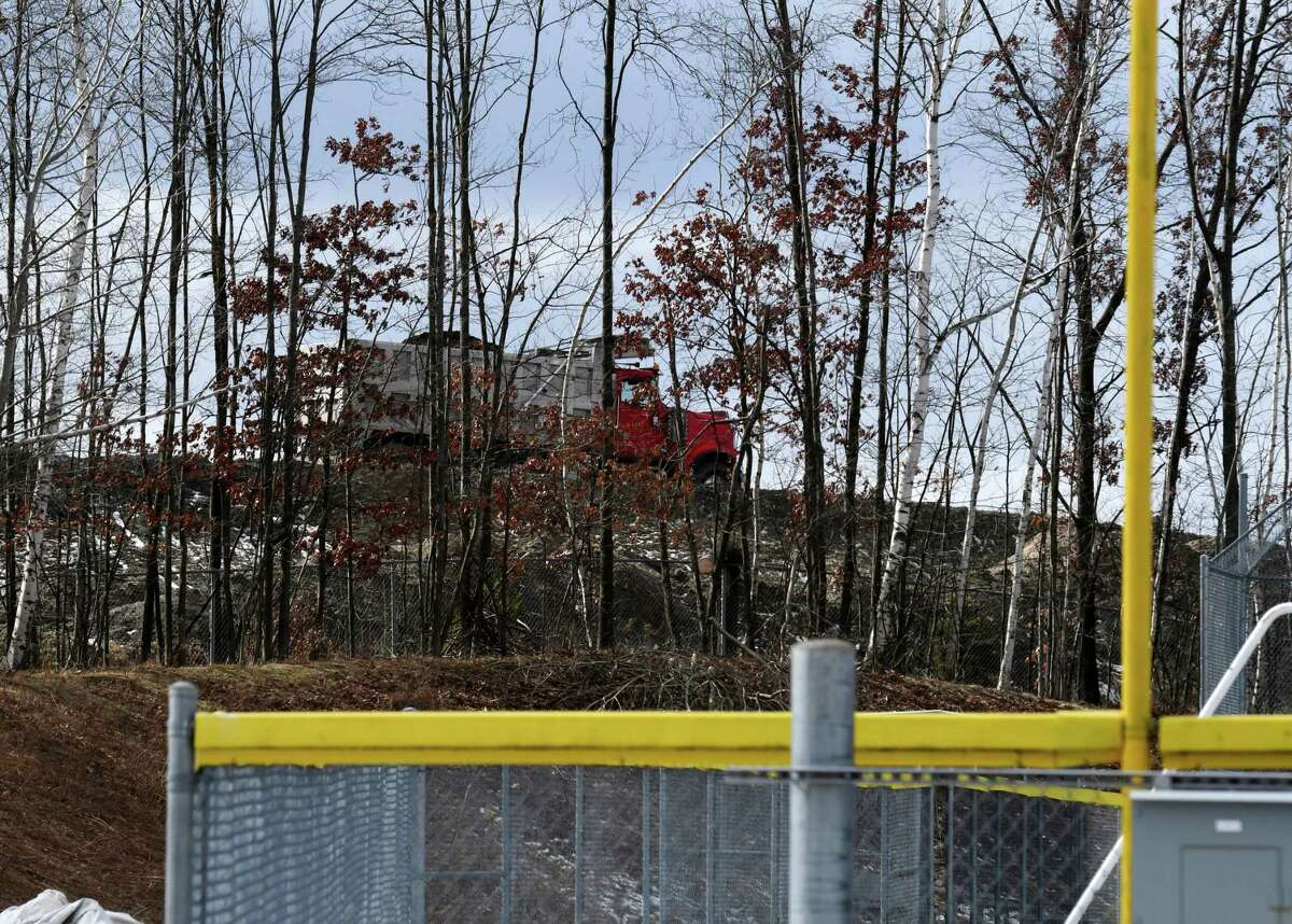 Rensselaer City School District playing fields sit adjacent to Dunn Landfill on Wednesday, Feb.19, 2020, in Rensselaer, N.Y. (Will Waldron/Times Union)