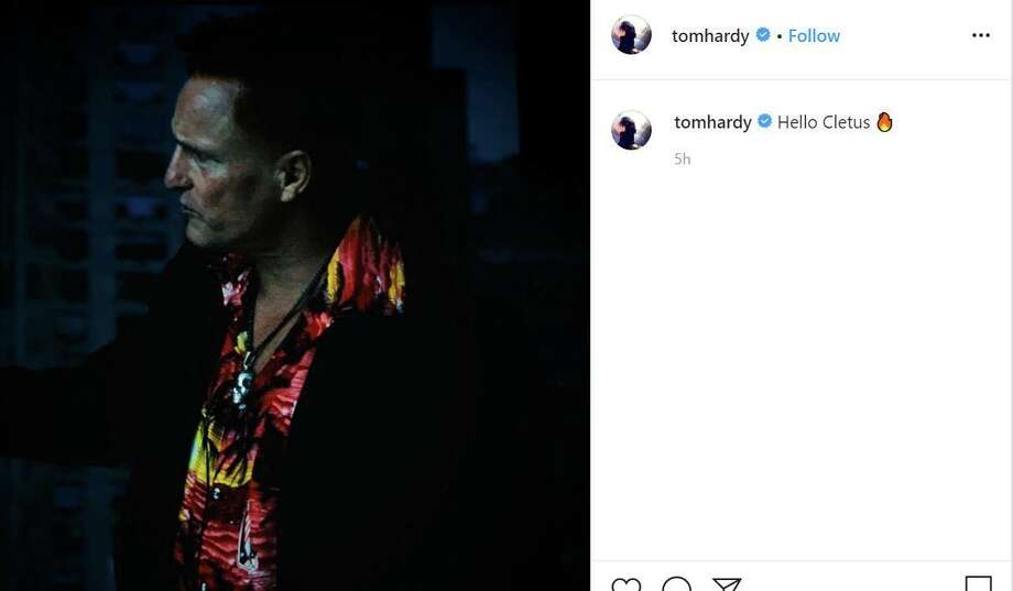 "In a since-deleted Instagram post, Tom Hardy teased ""Venom 2"" villain Carnage, played by Woody Harrelson. The actor was seen filming a scene on O'Farrell Street on Sunday. Photo: @tomhardy/Instagram"