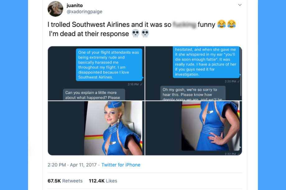 "A 19-year-old college student trolled a Southwest Airlines social media rep with a photo of Britney Spears in 2017, and it went viral. ""Oops, she did it again,"" the Southwest employee tweeted in return. Photo: Twitter"
