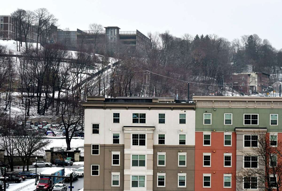 The City Station East apartment complex where Rensselaer Polytechnic Institute student Yeming Shen, 28, was fund dead from flu on Thursday, Feb. 13, 2020, in Troy, N.Y. Shen called 911 to try to get help, but emergency crews were unable to find him. Rescuers spent nearly 45 minutes searching buildings, even using a police dog. (Will Waldron/Times Union)