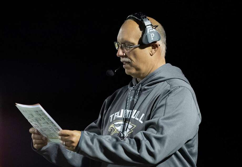 Marce Petroccio was inducted into the Connecticut High School Hall of Fame, the FCIAC Hall of Fame and the Greater Bridgeport Hall of Fame in 2014. Trumbull High football coach Marce Petroccio during the game against Darien High, Friday, October 4, 2019 at Trumbull High School Photo: David G Whitham / For Hearst Connecticut Media / DGWPhotography