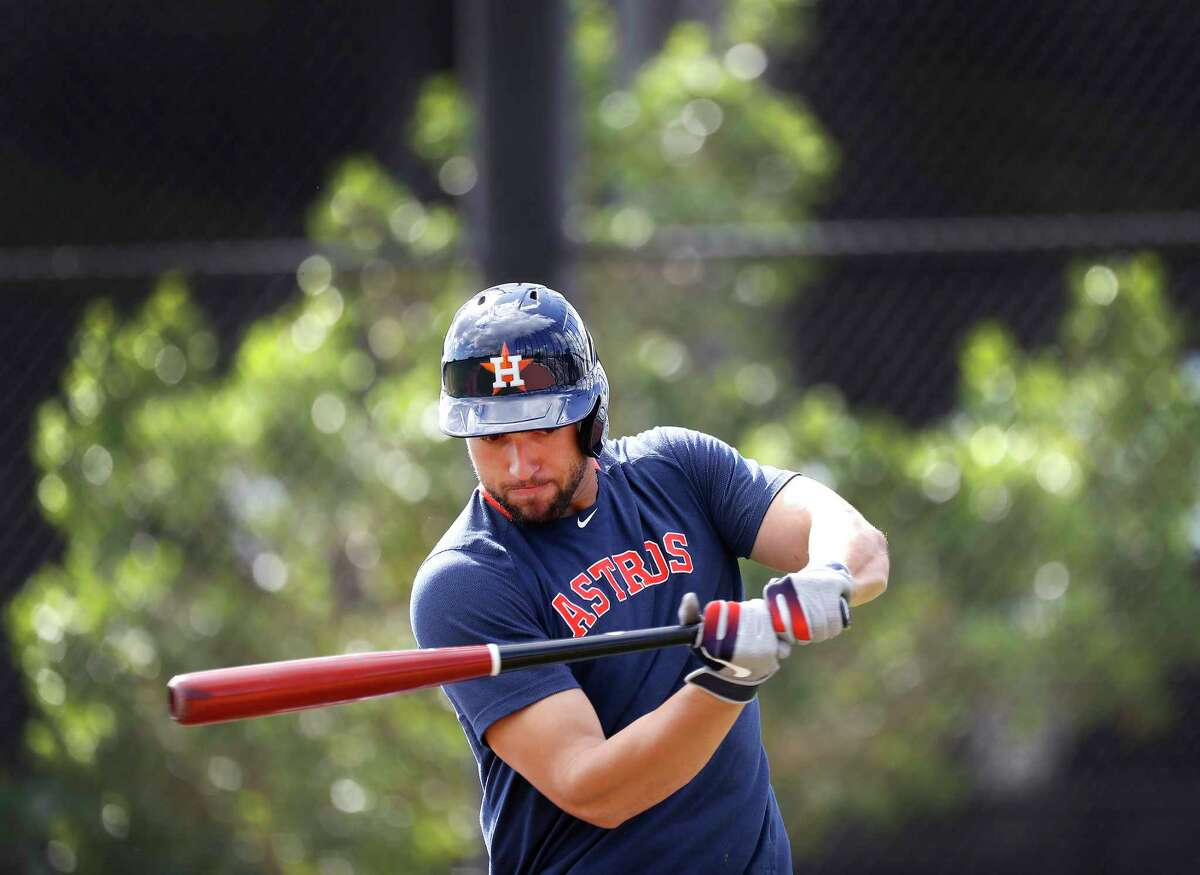 Houston Astros outfielder George Springer (4) prepared to face pitcher Austin Pruitt during live BP during the Houston Astros spring training workouts at the Fitteam Ballpark of The Palm Beaches, in West Palm Beach , Wednesday, Feb. 19, 2020.