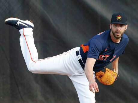 Houston Astros pitcher Austin Pruitt (51) warms up before pitching live BP during the Houston Astros spring training workouts at the Fitteam Ballpark of The Palm Beaches, in West Palm Beach , Wednesday, Feb. 19, 2020.