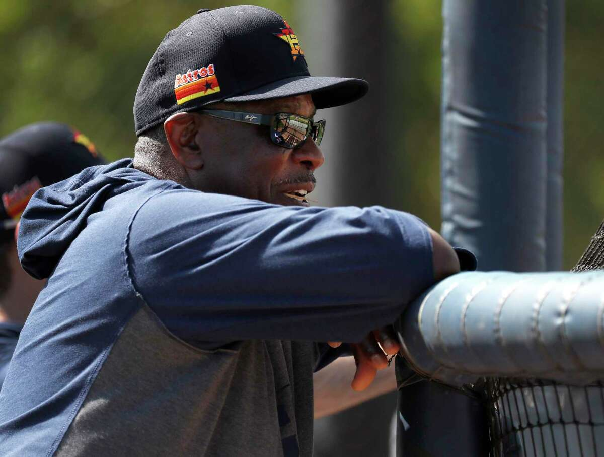 Houston Astros manager Dusty Baker Jr. watches Taylor Jones take batting practice during the Houston Astros spring training workouts at the Fitteam Ballpark of The Palm Beaches, in West Palm Beach , Wednesday, Feb. 19, 2020.