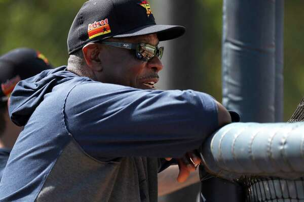 Astros manager Dusty Baker watches batting practice Wednesday at the Fitteam Ballpark of The Palm Beaches.