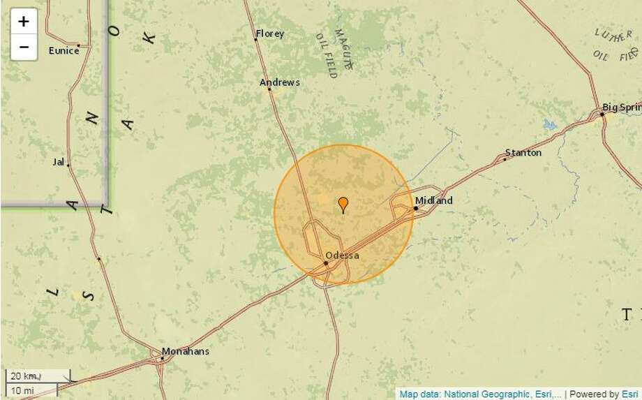 A 3.3-magnitude quake took place at 2:54 p.m. Wednesday, Feb.19, about 5 miles east-southeast of Gardendale. The USGS said the depth was 4.1 miles. Photo: Earthquaketrack.com