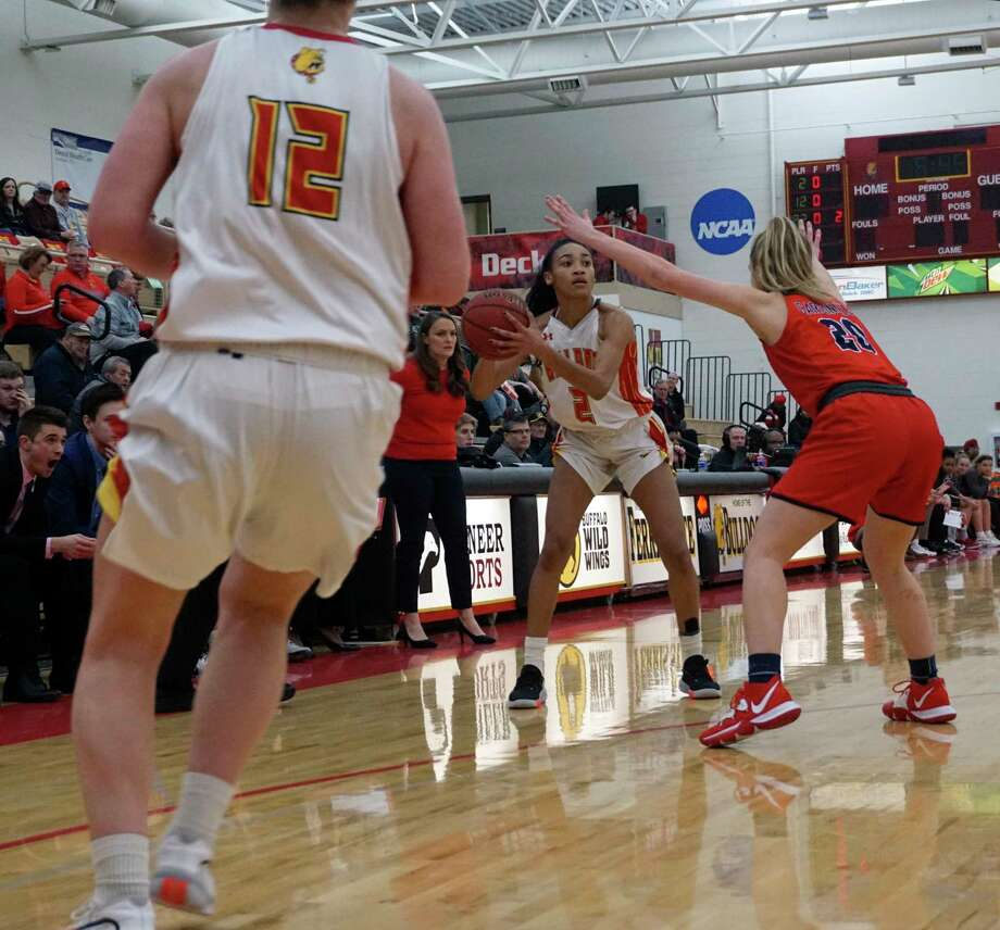 Big Rapids junior guard looks for an open teammate to pass to during the Bulldog ladies' 82-68 loss to Saginaw Valley State on Feb. 6 at Wink Arena. (Pioneer file photo/Joe Judd)