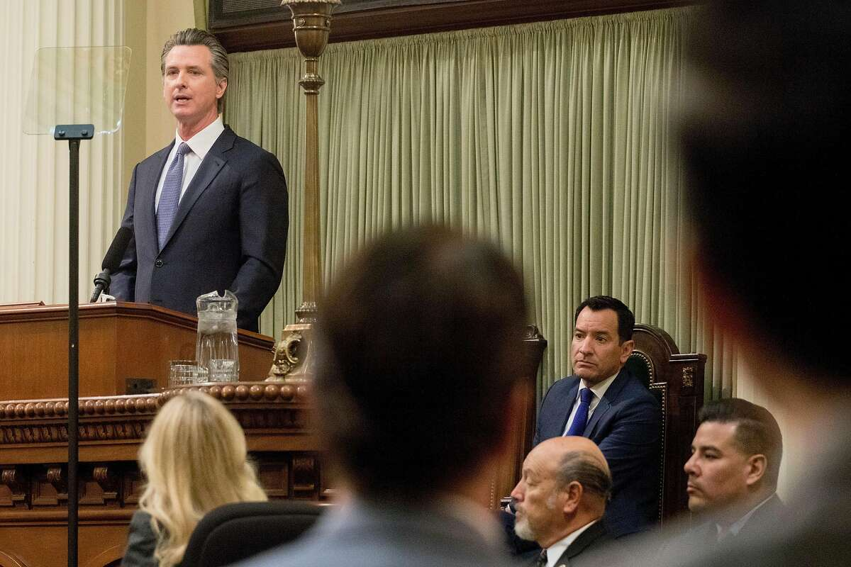 California Governor Gavin Newsom delivers his annual State of the State Address held in the Assembly Chambers of California's State Capitol in Sacramento, Calif. Wednesday, February 19, 2020.