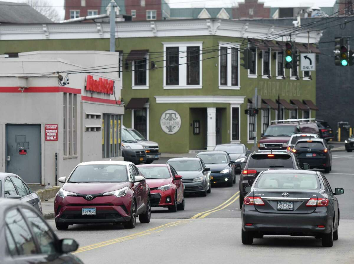 Traffic is heavy near the old Tarrylodge in Port Chester, N.Y., the site of a proposed apartment and retail building.