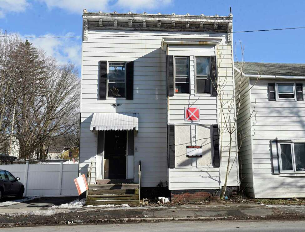Building at 710 2nd Ave. on Wednesday, Feb. 19, 2020 in Troy, N.Y. This is one of eight buildings the city of Troy is advertising to demolish. (Lori Van Buren/Times Union)