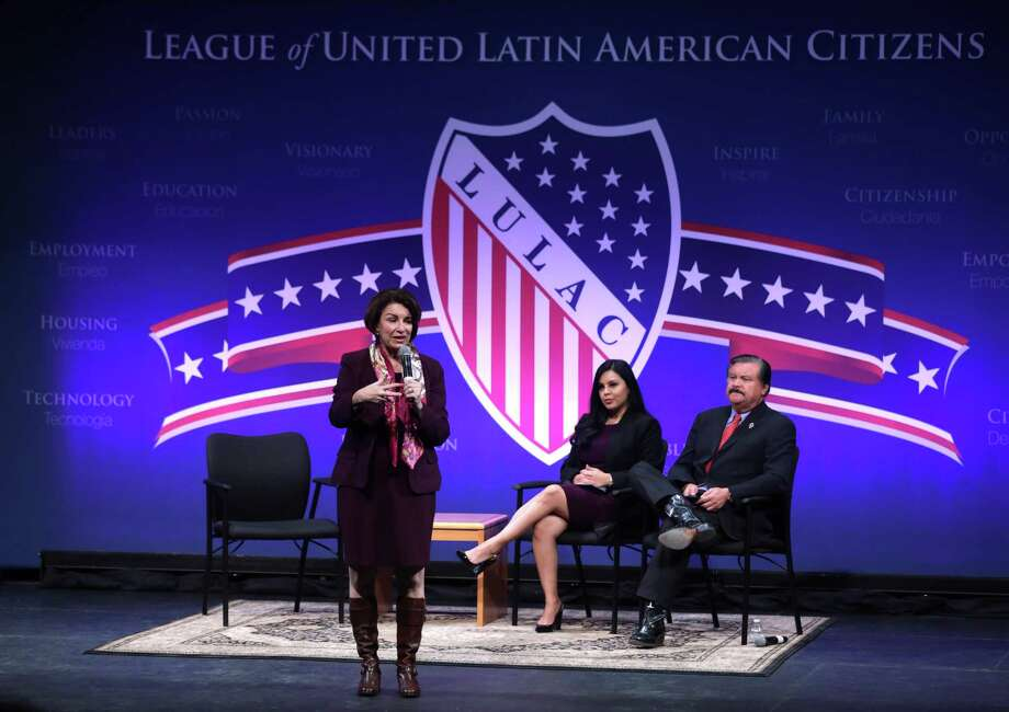 NORTH LAS VEGAS, NEVADA - FEBRUARY 13: Democratic presidential candidate Sen. Amy Klobuchar (D-MN) participates in a LULAC Presidential Town Hall as Telemundo news anchor Leticia Castro and LULAC National  President Domingo Garcia at The College of Southern Nevada February 13, 2020 in North Las Vegas, Nevada. League of United Latin American Citizens held the presidential town hall with Democratic presidential candidates to address Latino issues for the almost half a million eligible Latino voters in Nevada.  (Photo by Alex Wong/Getty Images) Photo: Alex Wong /Getty Images / 2020 Getty Images