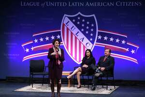 NORTH LAS VEGAS, NEVADA - FEBRUARY 13: Democratic presidential candidate Sen. Amy Klobuchar (D-MN) participates in a LULAC Presidential Town Hall as Telemundo news anchor Leticia Castro and LULAC National  President Domingo Garcia at The College of Southern Nevada February 13, 2020 in North Las Vegas, Nevada. League of United Latin American Citizens held the presidential town hall with Democratic presidential candidates to address Latino issues for the almost half a million eligible Latino voters in Nevada.  (Photo by Alex Wong/Getty Images)
