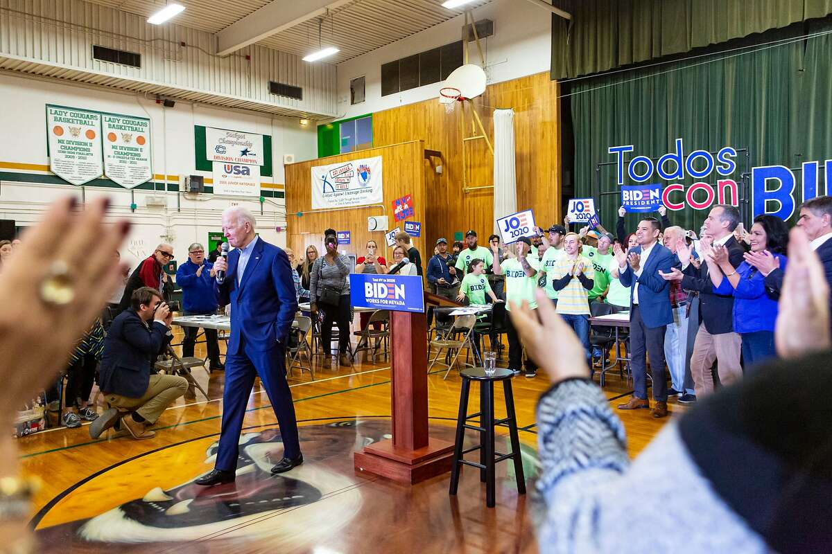 Democratic presidential candidate and former Vice President Joe Biden speaks during a campaign event at K O Knudson Middle School in Las Vegas on Saturday, Feb. 15, 2020.