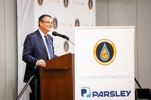 Senator Charles Perry, West Texas District 28, speaks at the keynote lunch during the third annual Permian Basin Water In Energy Conference February 19, 2020, at Horseshoe Arena in Midland. MANDATORY CREDIT: The Oilfield Photographer, Inc.