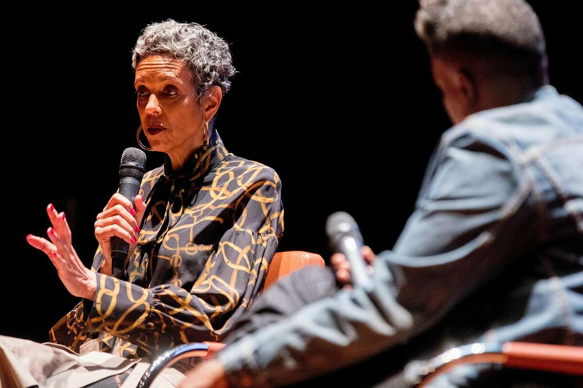 """Fredrika Newton (left) sits in conversation with DJ scholar Lynnee Denise at the deYoung Museum in San Francisco, Calif. Saturday, February 15, 2020. Fredrika Newton is the wife of the late Black Panther Party co-founder Huey P. Newton. Her conversation with Denise surrounding her husband's cultural significance and their personal relationship coincided with the deYoung Museum's exhibit """"Soul of a Nation: Art in the Age of Black Power 1963-1983""""."""