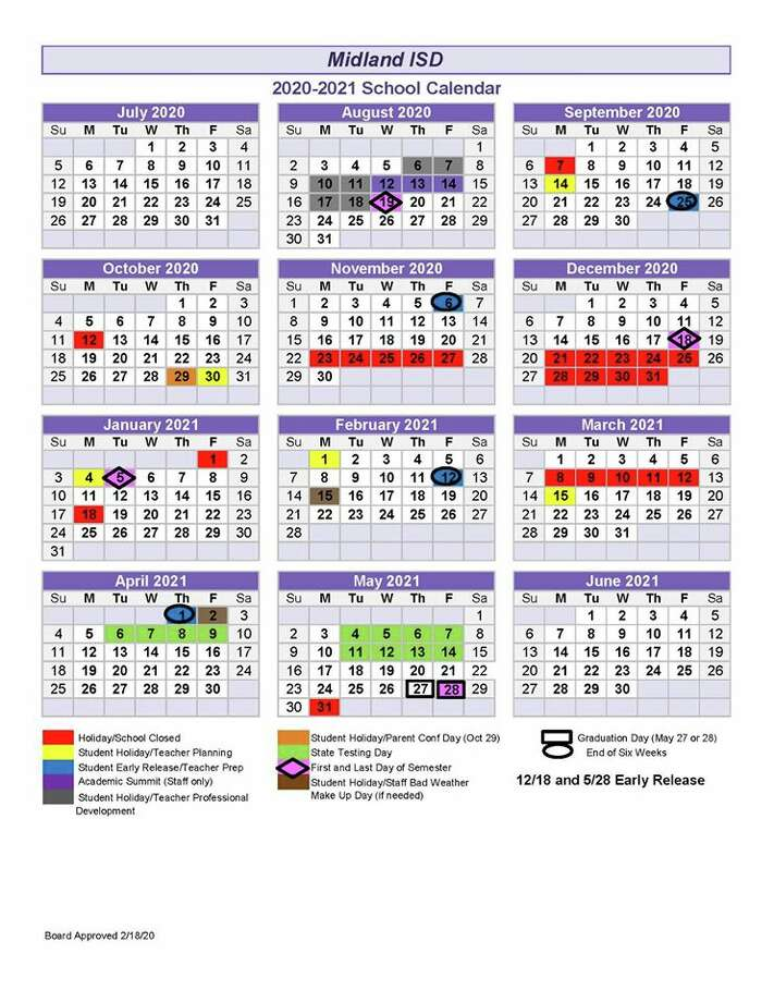 Misd 2021 Calendar MISD board doesn't pass alternative calendar   Midland Reporter