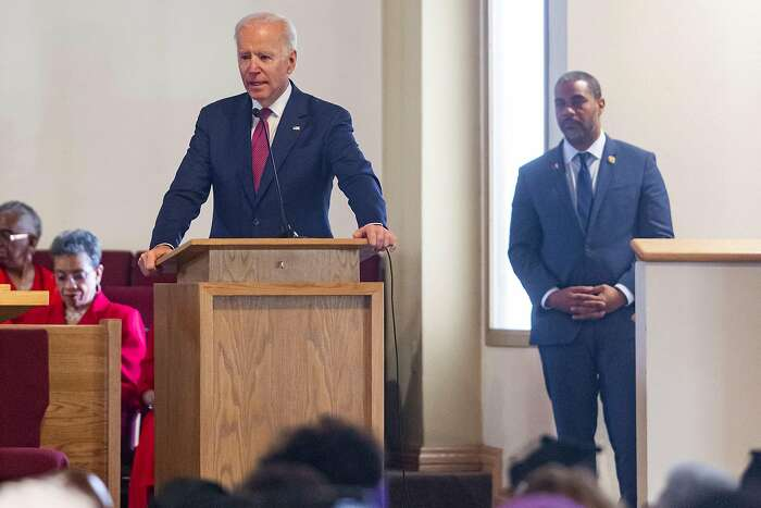 Democratic presidential candidate and former Vice President Joe Biden speaks as U.S. Rep. Steven Horsford, D-Nev., looks on during a service at the First African Methodist Episcopal Church in North Las Vegas on Sunday, Feb. 16, 2020.