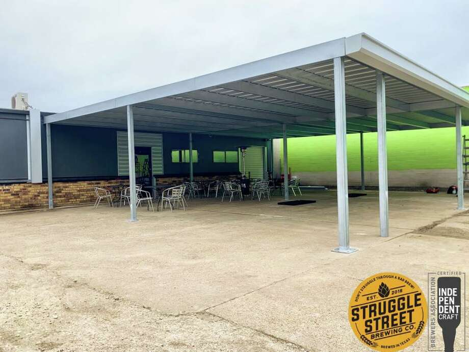 Struggle Street Brewing Company has expanded its patio area and added a covered roof. Photo: Courtesy Of Struggle Street