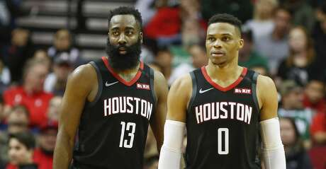 Houston Rockets guard James Harden (13) and guard Russell Westbrook (0) during the second half of an NBA basketball game at Toyota Center on Tuesday, Feb. 11, 2020, in Houston.