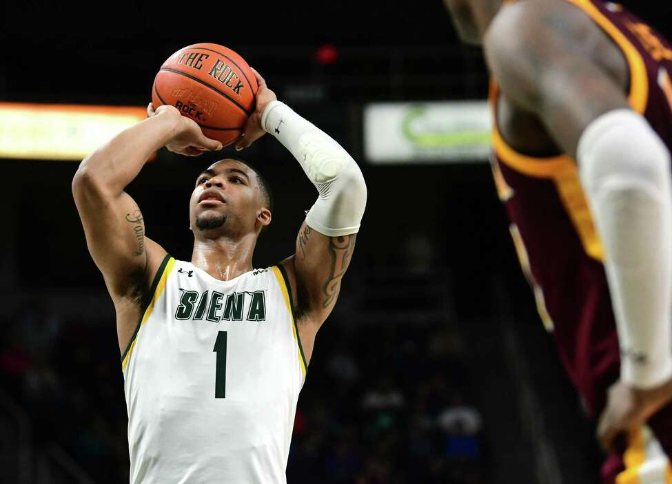 Siena's Elijah Burns makes a free throw to win the game against Iona at the Times Union Center on Wednesday, Feb. 19, 2020 in Albany, N.Y. (Lori Van Buren/Times Union)