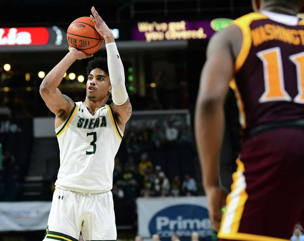 Siena's Manny Camper goes up for a shot during a game against Iona at the Times Union Center on Wednesday, Feb. 19, 2020 in Albany, N.Y. (Lori Van Buren/Times Union)
