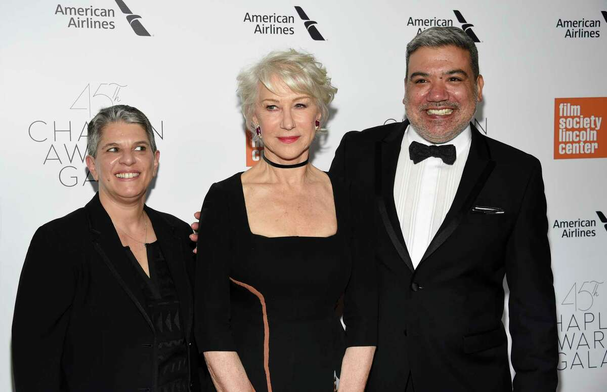 FILE - In this April 30, 2018, file photo, FSLC executive director Lesli Klainberg, left, honoree Helen Mirren and FSLC deputy director Eugene Hernandez attend the Film Society of Lincoln Center's 45th Chaplin Award Gala honoring Helen Mirren at Alice Tully Hall in New York. Hernandez will succeed Kent Jones as the director of the New York Film Festival, becoming only the fifth person to lead the esteemed Lincoln Center showcase for cinema in its 57-year history. Klainberg, executive director of Film at Lincoln Center, announced the appointment Wednesday, Feb. 19, 2020, naming Hernandez to the top position at arguably the most revered film festival in the country. (Photo by Evan Agostini/Invision/AP, File)