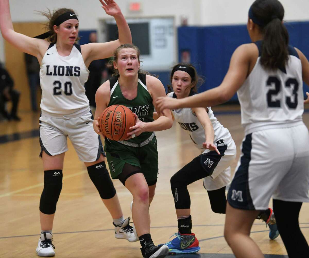 Schalmont's Haley Burchhardt drives to the basket during a game against Mekeel Christian Academy on Wednesday, Jan. 15, 2020 in Scotia, N.Y. (Lori Van Buren/Times Union)