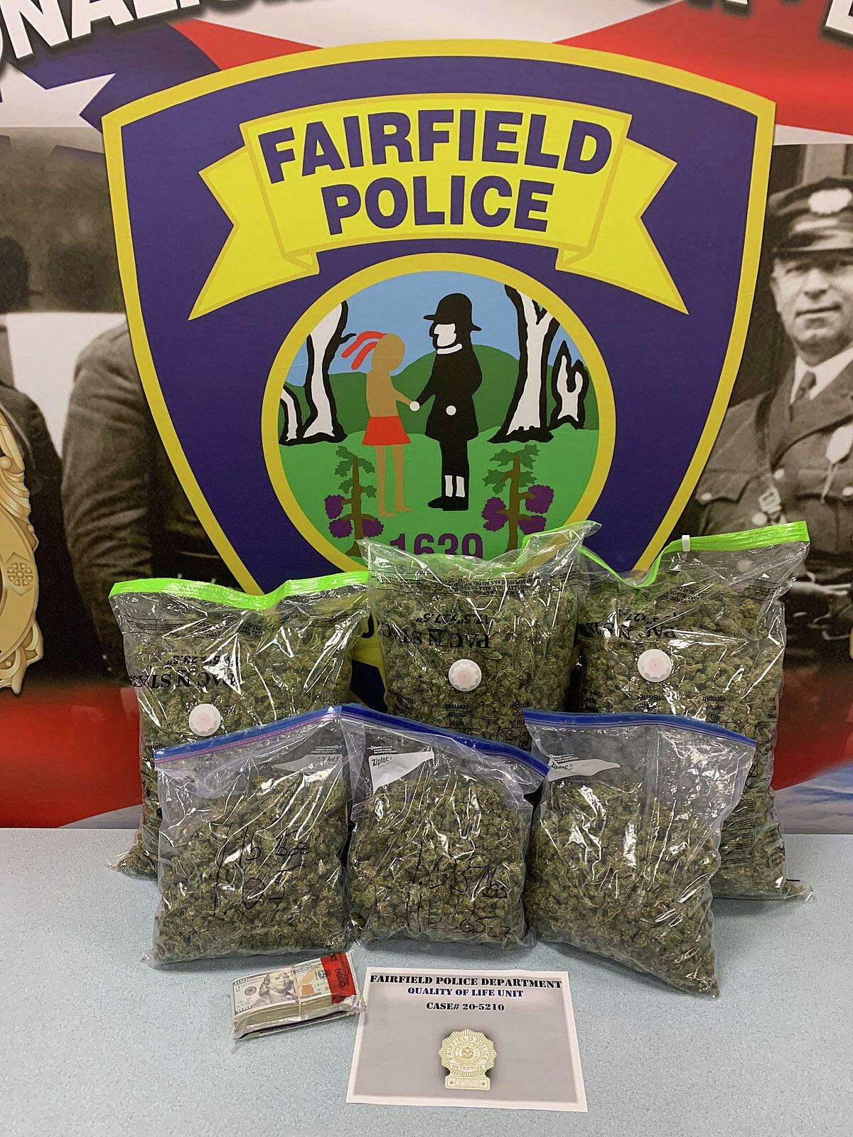 The investigation led to the discovery in a Fairfield motel of 16 pounds of marijuana, packaging material and an undisclosed amount of U.S. currency.