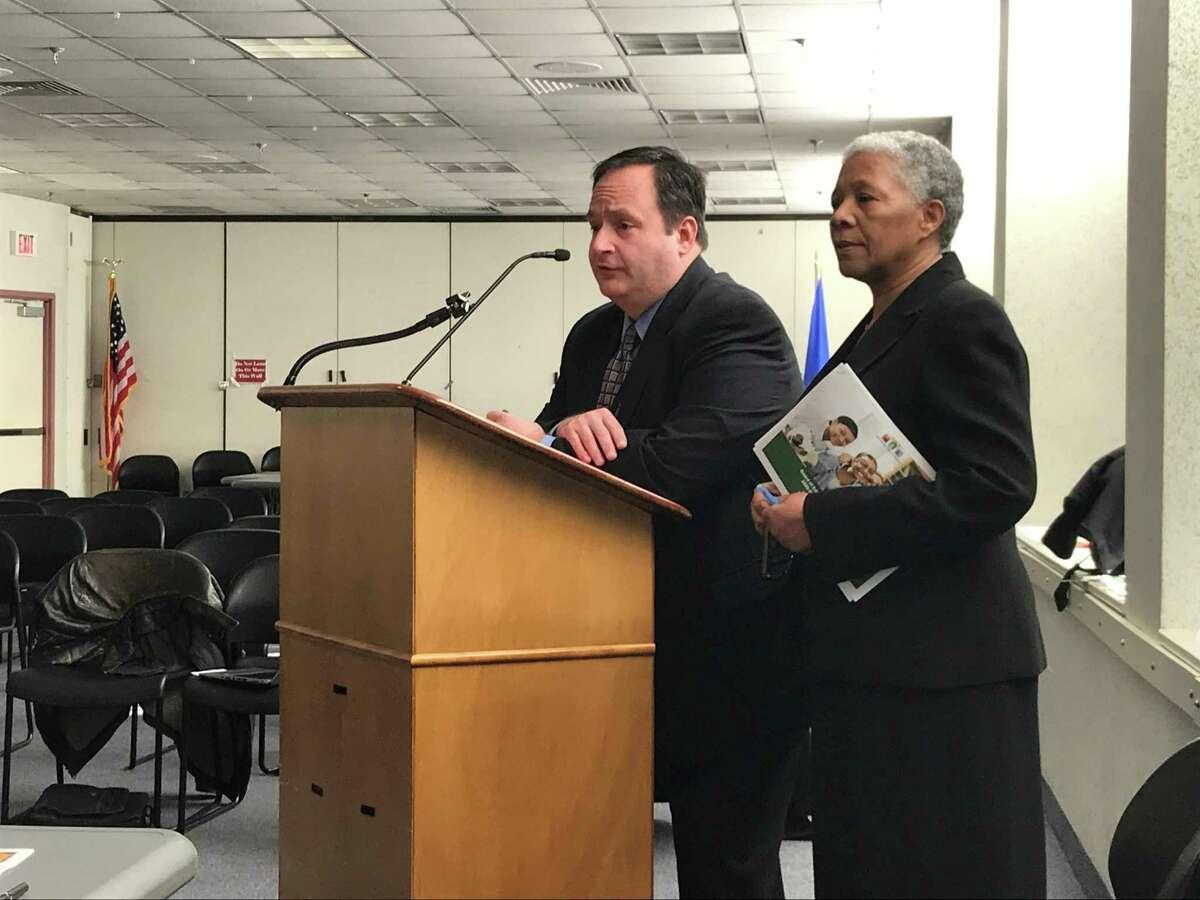 New Haven Public Schools CFO Phil Penn and interim Superintendent of Schools Iline Tracey on Feb. 19, 2020.