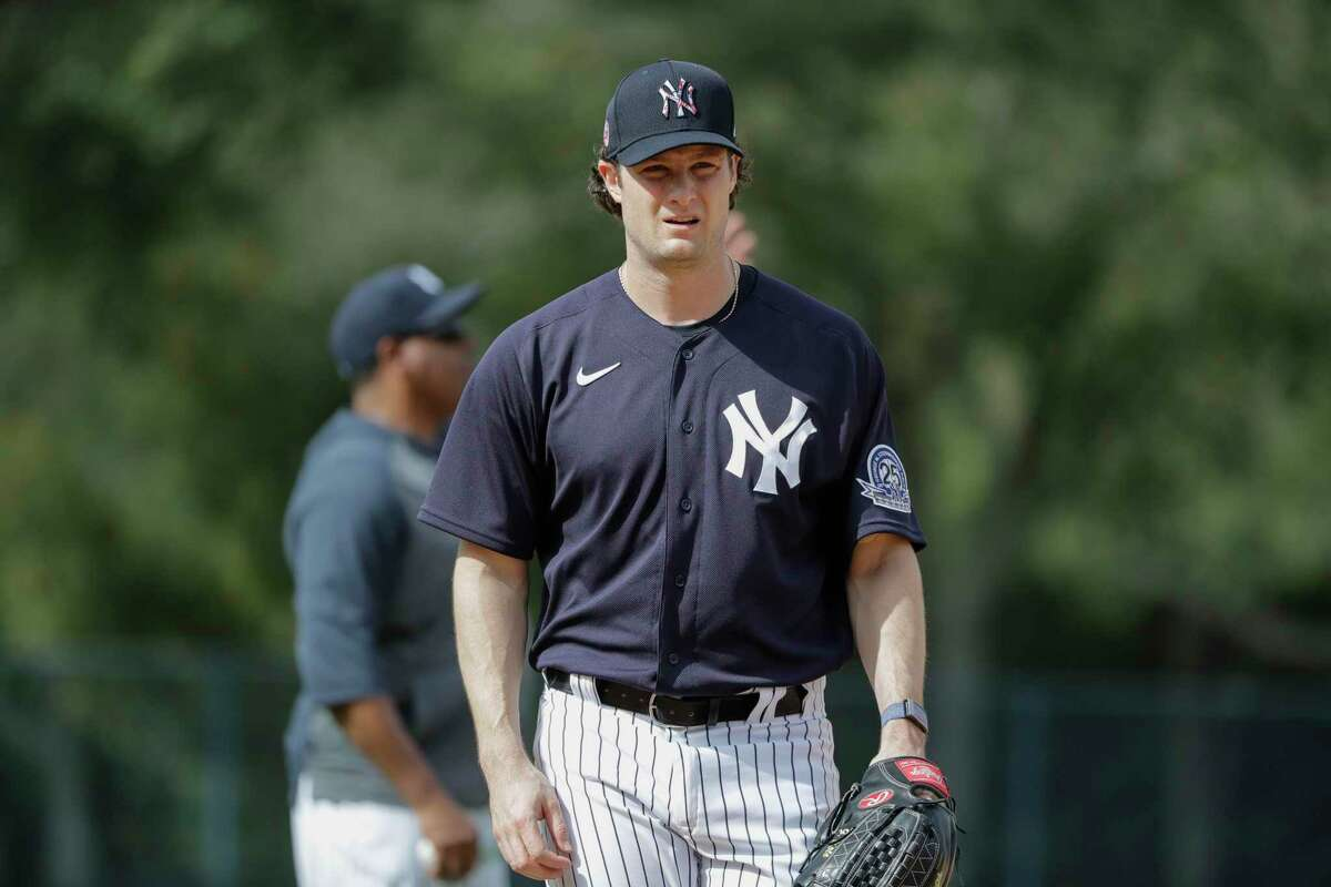New York Yankees' Gerrit Cole during a spring training baseball workout Thursday, Feb. 13, 2020, in Tampa, Fla. (AP Photo/Frank Franklin II)