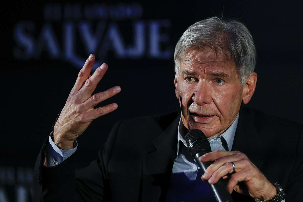 """Actor Harrison Ford answers questions during a press event to promote his new film, """"The Call of the Wild,"""" in Mexico City, Wednesday, Feb. 5, 2020."""