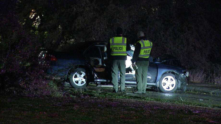 An elderly woman was killed after crashing into a tree near the 14200 block of Huebner Road early Thursday morning. Photo: Ken Branca