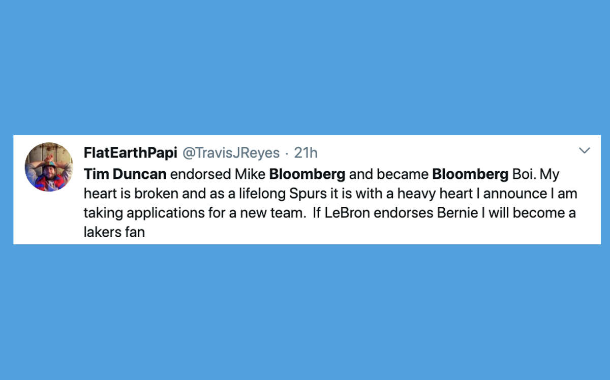 Twitter reacts to Tim Duncan's endorsement of Mike Bloomberg for president.