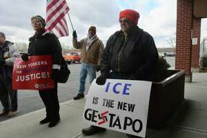 Protesters lined up outside the Rensselaer County jail Thursday morning to rail against the appearance of Matthew T. Albence, the acting director of the U.S. Immigration and Customs Enforcement agency.