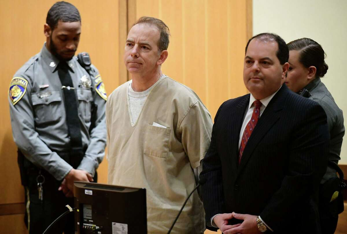 Kent Mawhinney, 54, appears in Stamford court with his attorney Lee Gold to enter a plea to a conspiracy to commit murder charge in connection with the death of Jennifer Dulos Thursday, February 20, 2020, in Stamford, Conn.