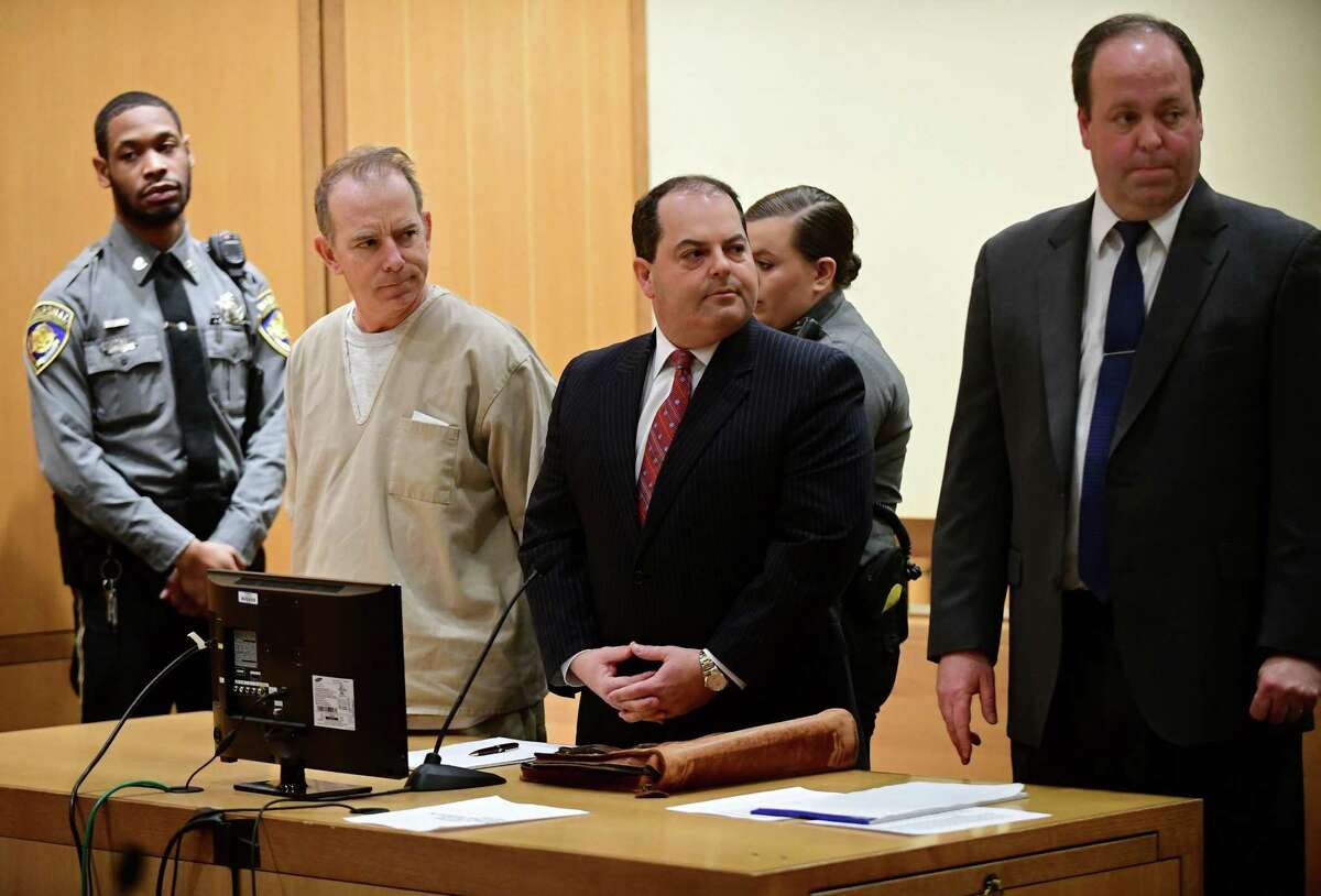 Kent Mawhinney, 54, appears in Stamford court with his attorneys to enter a plea to a conspiracy to commit murder charge in connection with the death of Jennifer Dulos Thursday, February 20, 2020, in Stamford, Conn.