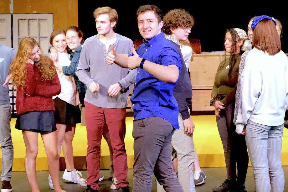 St. Luke's Upper School students at rehearsals for Pippin. Leila Pearson '21 (New Canaan); Samantha Bauer '23 (Wilton); Cessa Lewis '23 (Westport); Henry Jodka '20 (New Canaan); Doron Loewenberg '21 (Stamford); Brody Menzies '20 (Bedford Corners); Sarah Bryant '20 (Bethel); Kayleigh Bowler '20 (Ridgefield); Sierra Taylor '20 (Norwalk). Photo: /