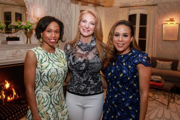 EMBARGOED FOR SOCIETY REPORTER UNTIL FEB. 25 Roslyn Bazzelle Mitchells, from left, Kemah Blair-Flores and Heidi Smith at a party for Best Dressed honorees n Houston on February 19, 2020.