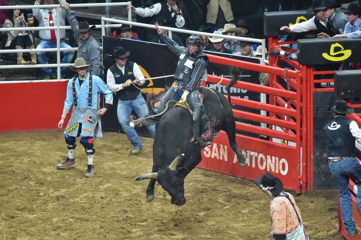 Ruger Piva of Challis, Idaho, comes out of the chute during the 2019 Xtreme Bulls event at the San Antonio Stock Show and Rodeo. On Wednesday, Piva was the only competitor to complete a qualified ride in bull riding, earning the entire $13,000 purse.