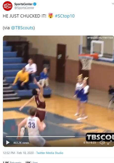 Harlandale High School recently clinched a spot in the playoffs and the national spotlight recently thanks to a senior baller's buzzer-beating toss up that's being compared to the layup skills of Golden State Warrior Steph Curry. Photo: Screenshot