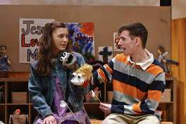 """Hand to God"" - a dark comedy using puppets that forces the audience to confront its religious and spiritual beliefs in a uniquely hilarious way - is at Western Connecticut State University Feb. 28-March 8. Pictured are Jamie Leo, of Southbury, and Will Stewich, of Shrewsbury, Mass., in a scene from the play."